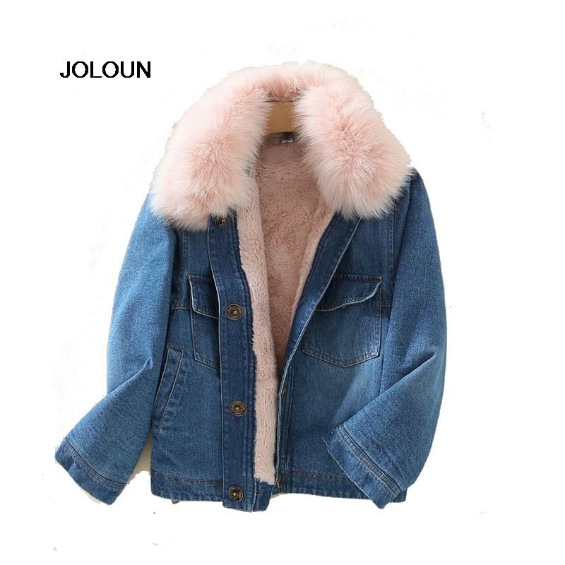 Col Fourrure Vestes Manteau Denim Manteaux Chaud Femme Outwear Polaire Bleu Rose Giacca Parka Femmes Sherpa Donna Dame Hiver 4q7xz11