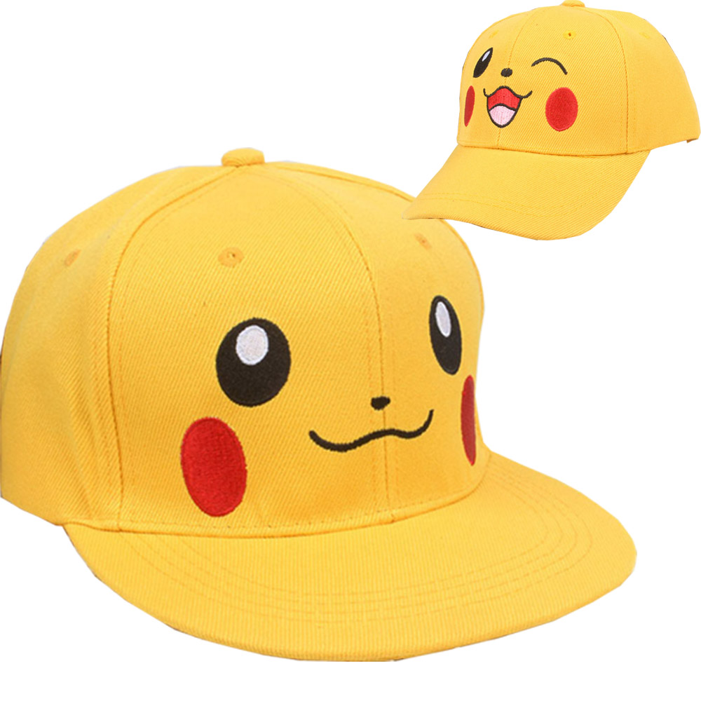 New pikachu cartoon Adjustable Caps girl Baseball hat Cool Boy Hip-hop cosplay accessary kids adults