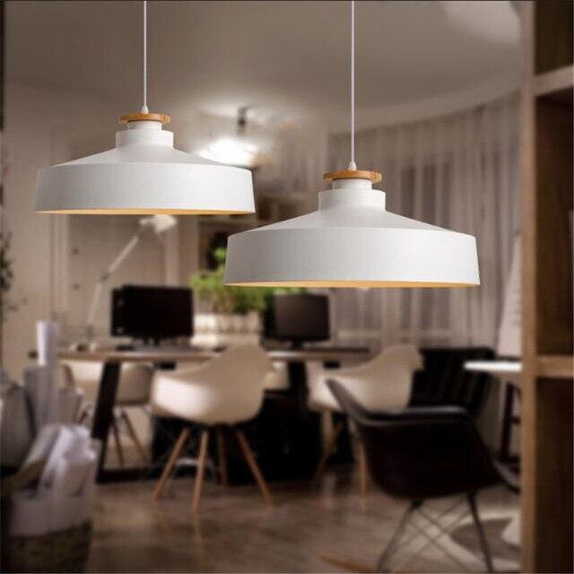 cafe lighting furniture nordic style simple wood dinner pendant light lid restaurant modern cafe lights e27 free