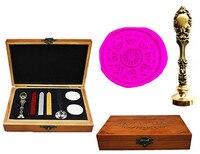 Vintage Compass Decorative Luxury Wax Seal Sealing Stamp Brass Peacock Metal Handle Sticks Melting Spoon Wood