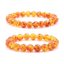 New 8mm/10mm Artificial Amber Stone Round Beaded Bracelet Men Women Stretch Bangle Hot(China)