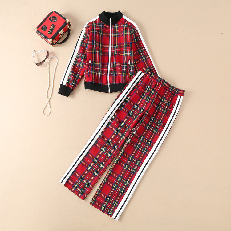 European and American women's wear autumn 2018  The new  Long sleeve  Zipper jacket  +  trousers  Red check suit