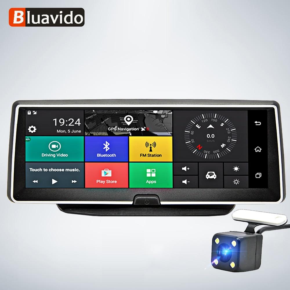 Bluavido 8 Cal kamera samochodowa 4G Android nawigacja GPS ADAS FHD 1080P wideorejestrator samochodowy wideorejestrator noktowizor monitor do parkowania