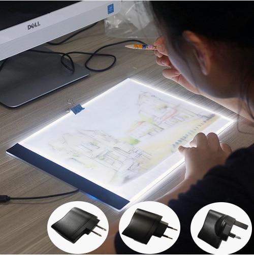 A4 HA CONDOTTO LA Luce Tablet Ultrasottile 3.5mm Pad applica per EU/UK/AU/US Spina/USB diamante Ricamo Pittura Croce di Diamanti Stitch
