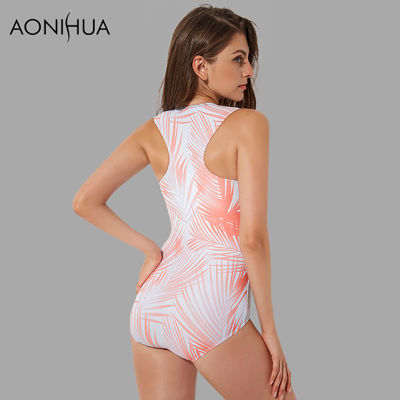 AONIHUA Sleeveless One piece Swimsuit Women summer beach Sexy Front Zipper Swimwear female Print Leaf Bathing swimming Suit 1981 in Body Suits from Sports Entertainment