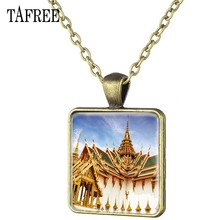 TAFREE The Grand Palace View Necklace Antique Bronze Plated Square Pendants Necklaces Hot Sale Scenery Classic Jewelry FA149(China)