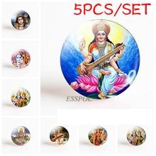 5PCS/SET Buddhist Vishnu Lakshmi Amulet 25mm Round Glass Cabochon Photo Cameo DIY Jewelry Handmade Pendant