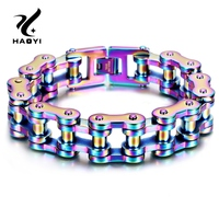 235*19mm Color Blue Men Biker Bicycle Motorcycle Chain Bracelet Bangle Punk Titanium Steel Jewelry Fashion Trendy Bangles