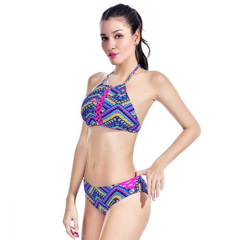 626791973e ... Crochet Ethnic Bikini Set Women Retro Crop Halter Swimsuit Knitted  Swimwear Low Waist Beachwear Triangle Two ...