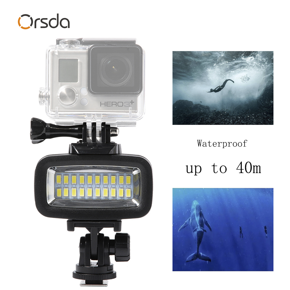 Image 2 - Orsda Gopro accessories LED 40m Underwater Waterproof Lamp gopro light led Video Flash Fill Light For SJCAM Xiaomi 700LM SL 100-in Sports Camcorder Cases from Consumer Electronics