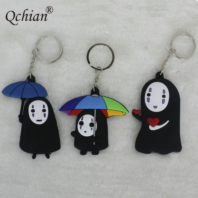 Spirited Away Faceless Men  Double Silicone Decorative Pendant Love Colored Umbrella Keychain