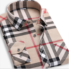 Khaki Plaid Shirt Men Slim Fit Long Sleeve British Style Casual Designer Clothes Mens Flannel Shirts Tartan Blouse Dress Camisas