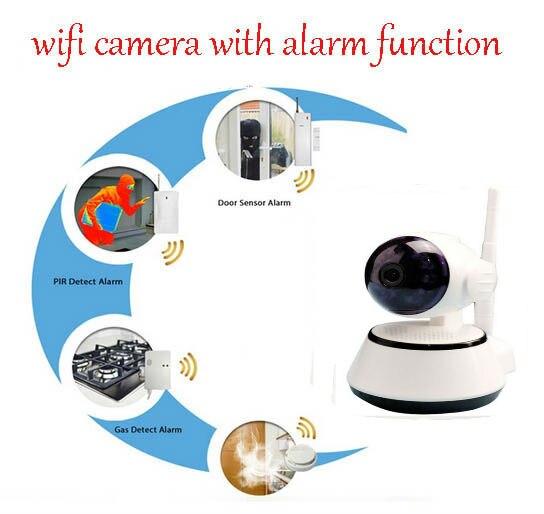 ФОТО 720p Wifi Indoor Security Surveillance IP Camera Wireless BabyMonitor LINKAGE ALARM SYSTEM+Pir sensor+Door sensor+Smoke detector
