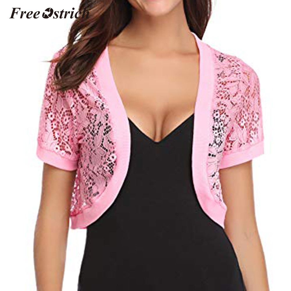 Free Ostrich Women's Summer New Short Sleeves Thin Small Shawl Lace Air Conditioning Cardigan Short Womens Thin Cardigan N30