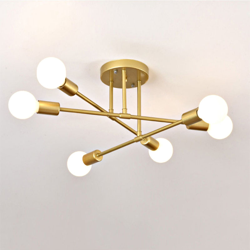 6/8 Head LED Industrial Iron Ceiling Lamp Black/Golden European Minimalist  Living Room Lighting 220V E27 Anti-Rust & Durable