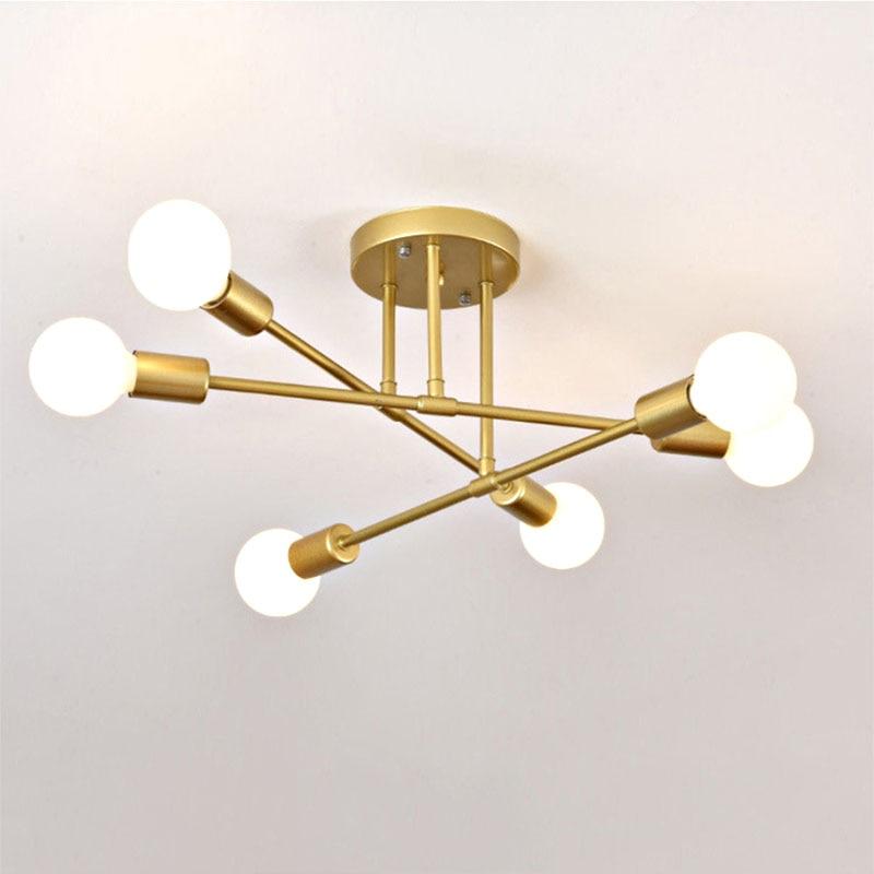 6/8 Head LED Industrial Iron Ceiling Lamp Black/Golden European Minimalist Living Room Lighting 220V E27 Anti-Rust & Durable