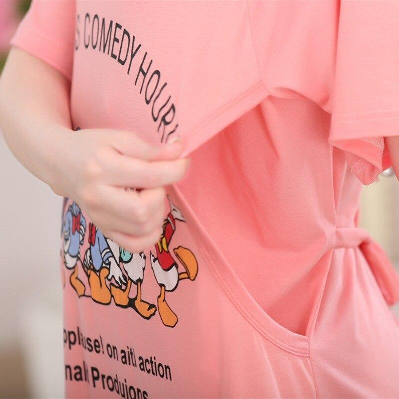 Summer maternity nursing clothing out wear nursing dress Breastfeeding Dress for Pregnant Women Cartoon Confinement Clothing