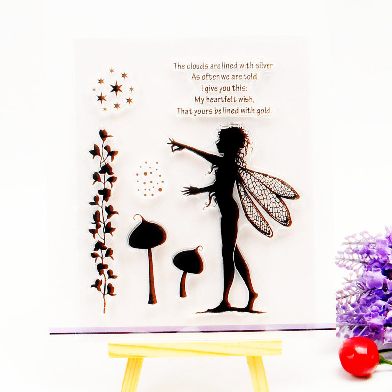 DECORA 1PCS Butterfly Fairy Angel Flower Design Silicone Transparent Clear Stamp DIY Scrapbooking Christmas Decoration Supplies аксессуары sonance vc30r decora white