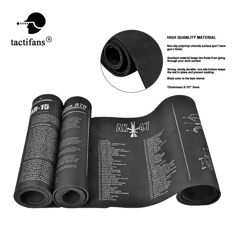 Tactifans Gun Cleaning Mat Non-Slip Cleaning Bench Rubber Carpet  With Diagram Parts And Instructions AK47 AR15 REM870 1911 P229