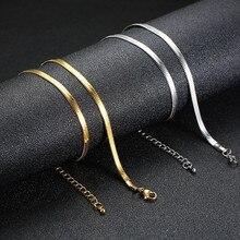 Mostyle золото и серебро 4 мм регулируемый плоский змеиная цепочка колье для женщин из нержавеющей стали ожерелья элегантный уличная одежда ювелирные изделия