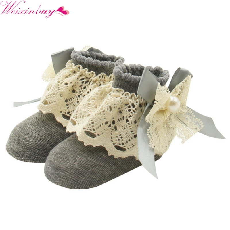 1 Pair Lace Floral Socks for Toddlers Infants 0-12 Months Cute Cotton Ankle Bow Socks Baby Girls Princess Bowknots Socks