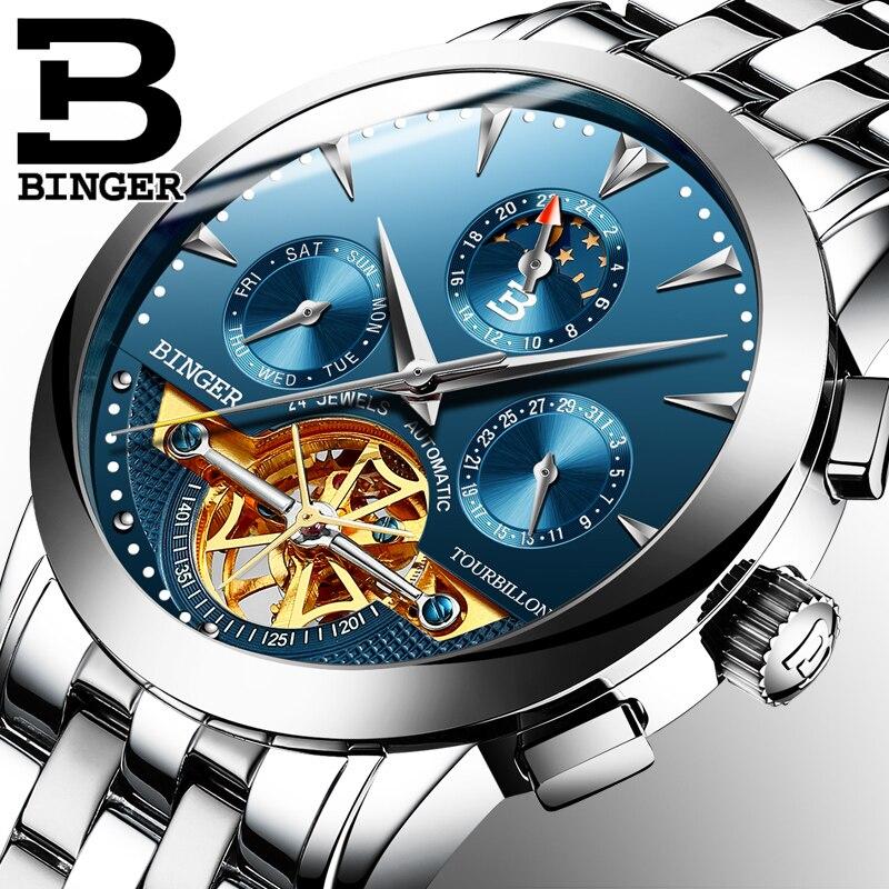 2019 Switzerland luxury men s watch BINGER brand Mechanical Wristwatches sapphire watches full stainless steel clock