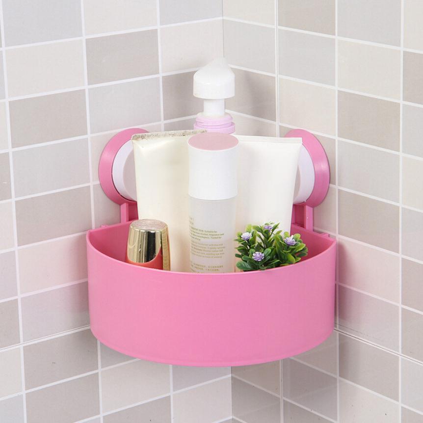 Wall Mounted Bathroom Corner Shelf Sucker Suction Cup Plastic Shower ...