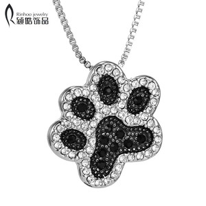 hot sale Dog Paw necklace Black White Crystal Rhinestone Pendant Necklaces Jewelry Vintage Rhodium Plated for women best gifts