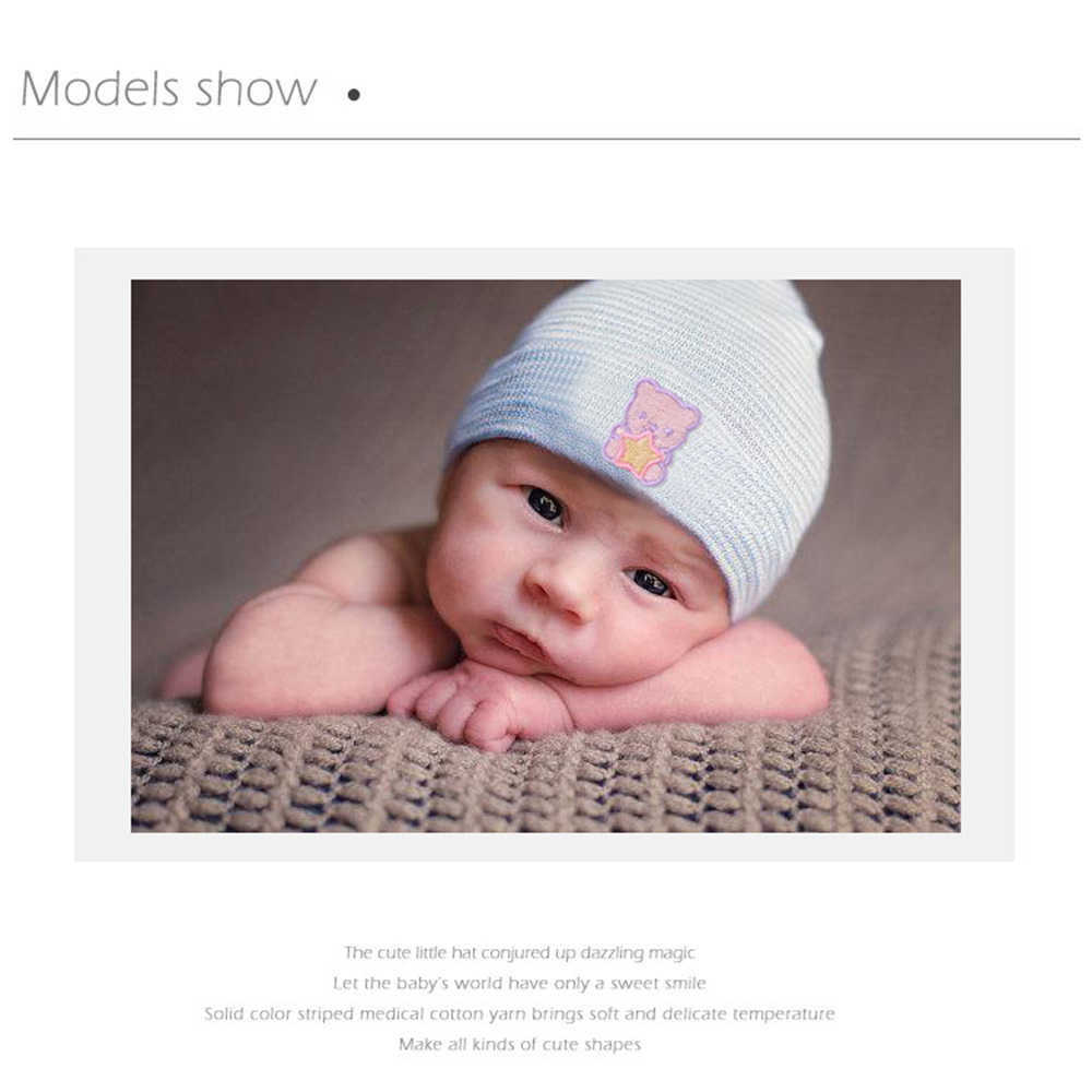 Baby Infant Hats Embroidery Spring Newborn Baby Knitted Hat Tire Hat Striped Hat 0-3 Month baby photography props