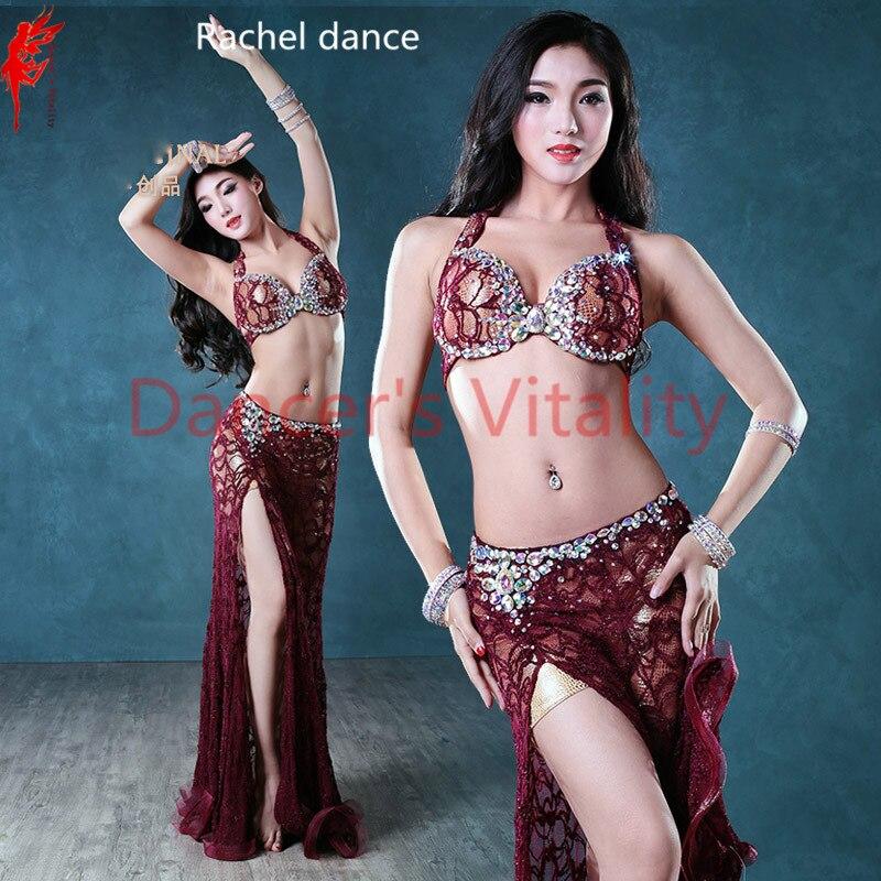Belly Dance Set Bra Top+ Lace Skirt Latin Dance Clothing Salsa Ballroo Samba Dance Exercise Dress Costume Clothes  A/B/C/D CUP