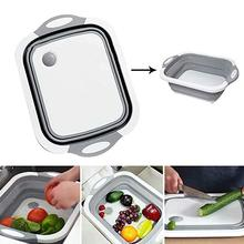 Складная доска для резки посуды и нарезки мойка с собственной вилкой для дренажа Многофункциональный кухонный гаджет