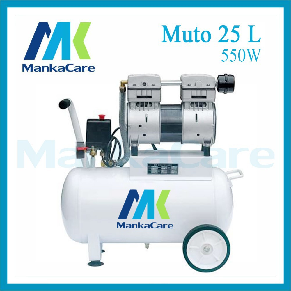Manka Care - 25L 550W Dental Air Compressor/Printing In Tank/Rust-Proof Chamber/Silent/Oil Less/Oil Free,/Compressing Machine