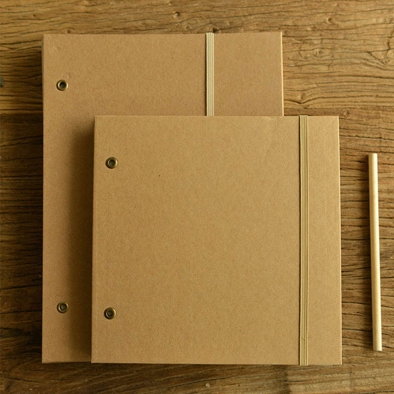 Hot Blank A4 Sketchbook Diary Drawing Graffiti Vintage Kraft Notebook paper 65 sheet Sketch book Office School Supplies Gift a5 blank sketchbook diary drawing graffiti painting kraft sketch book 80 sheets spiral notebook paper office school supplies