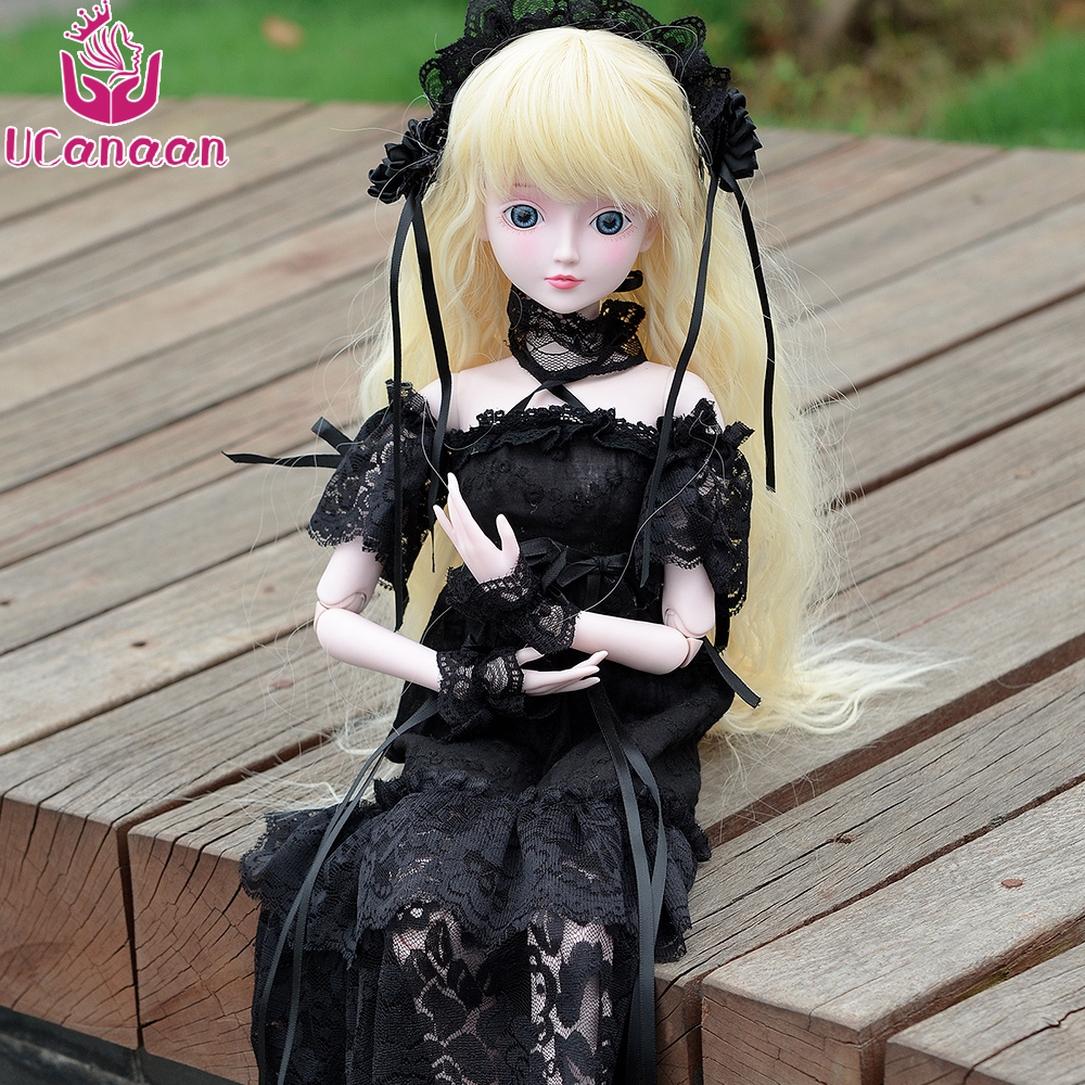 UCanaan 1/3 Girls BJD Black Dress Wear Princess Dolls For Girls New Arrival Toy With Full Outfits 19 Ball Jointed Bady Kids Toys стоимость
