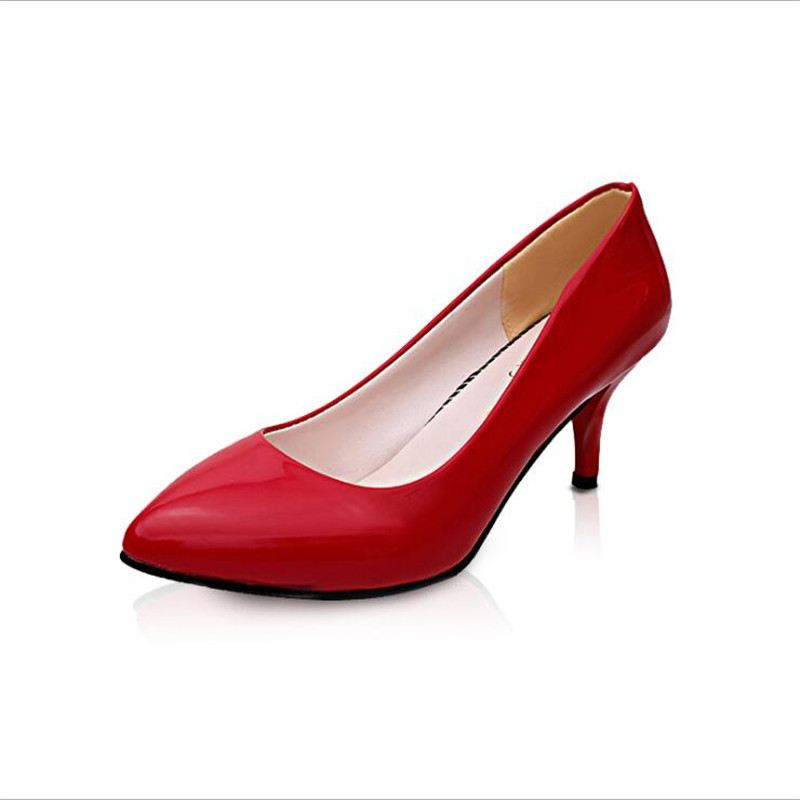 Alto Negro Tacón Mujer Coreana Zapatos Boca Lss Solo Nuevos Color Pure rosado 025 Primavera Patente rojo Verano 328 Zapato blanco Baja De Y O7qwx5Hcp