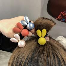 цены на Cute Stereo Pearl Bunny Rabbit Ears Scrunchies Women Elastic Hair Rubber Bands Hair Ring Ponytail Holder Sweet Hair Accessories  в интернет-магазинах