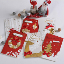 цена на 1Set Creative Paper 3D Merry Christmas Greeting Cards Kids Blessing Card+Envelope New Year Postcard Gift Folding Card Xmax Party