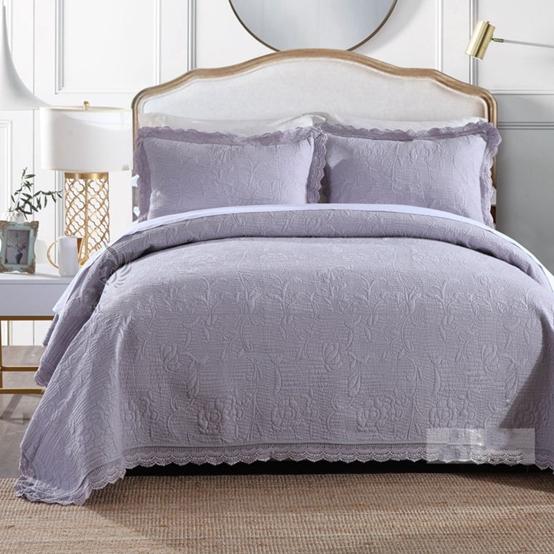 CHAUSUB New Quality Embroidery Quilt Set 3pcs Cotton Quilts Quilted Bedspread Bed Cover Sheets Pillowcase King Size Coverlet Set