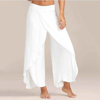 NIBESSER Chiffon Irregular Side Pants Women Causal Wide Leg Split Trousers Female Solid Elastic Wasit Loose