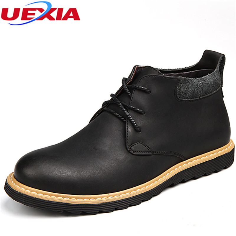 New Leather Autumn Winter High Quality Winter Fur Work Safty Ankle Boots Men Business Dress Wedding Party Men Boots Botas Hombre mulinsen new 2017 autumn winter men