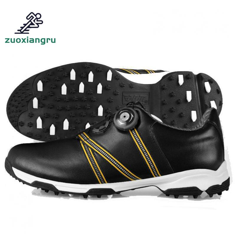 Men Automatic Boa-lace First Layer Leather Waterproof Breathable Anti-skid Patent Design Sport Shoes Good Grip Male Golf Shoes цена