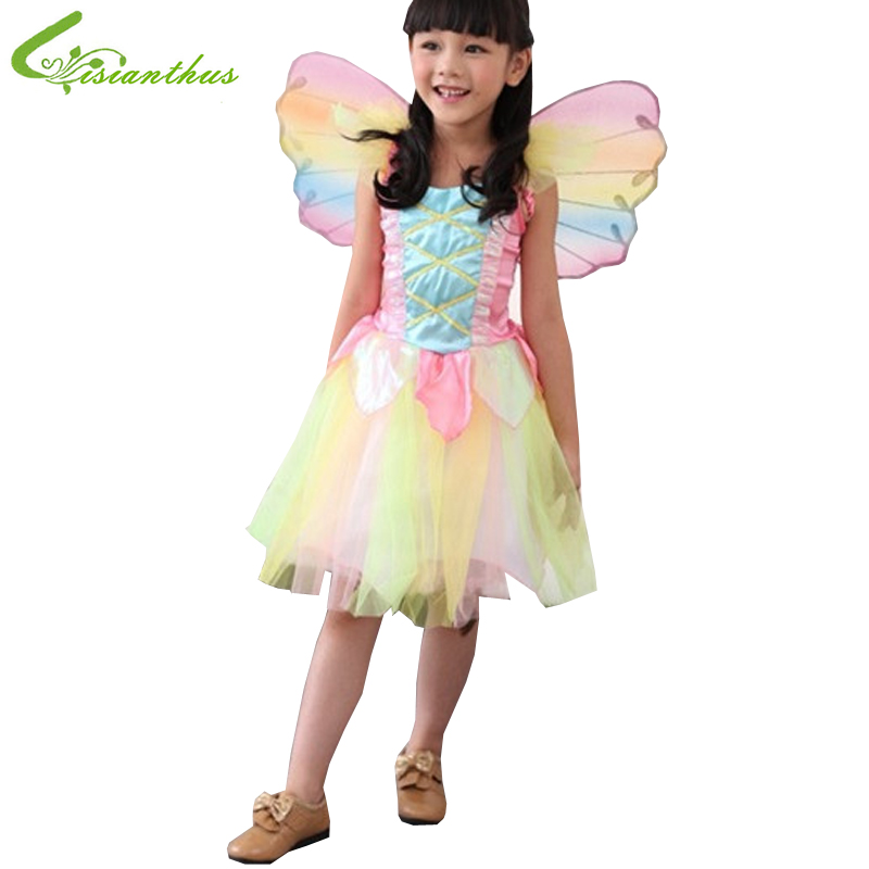 girls halloween costumes rainbow angel dress cosplay stage wear clothing sets kids party fancy ball clothes - Kids Angel Halloween Costume