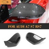 Замена углеродного волокна авто Зеркало Caps Обложки для Audi A7 S7 S линии RS7 хэтчбек 4 двери 11 17 без Side Assist