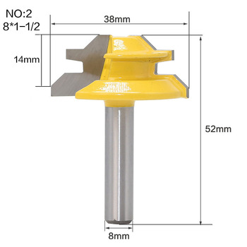 1Pc 45 Degree Lock Miter Router Bit 8Inch Shank Woodworking Tenon Milling Cutter Tool Drilling Milling For Wood Carbide Alloy 4