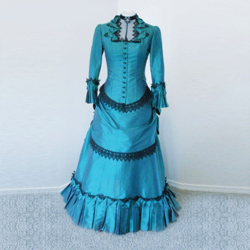 2018 Vintage Gothic Victorian Bustle Period Dress Medieval Renaissance Victorian Party Ball Gowns Theater Clothing for Women