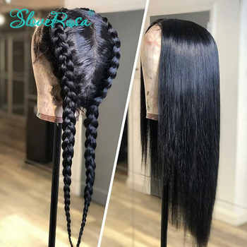 150% Density Straight 360 Lace Frontal Human Hair Wigs For Black Women Brazilian Remy Hair Bleached Knots Pre Plucked SloveRosa
