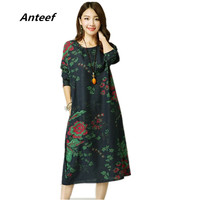New Fashion Spring Autumn Cotton Vintage Print Plus Size Women Casual Long Loose Dress Vestidos Femininas