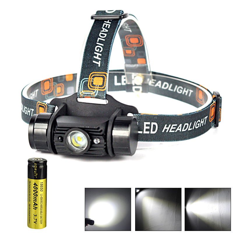 1 Mode Usb Rechargeable Motion Sensor LED Headlamp Flashlight Camping Hiking Head Torch Light 1x 18650