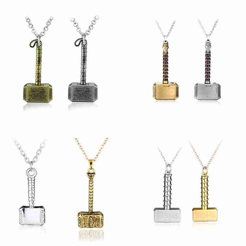 Marvel Thor Hammer Pendant Necklaces Avengers Endgame Thor Weapon Enamel Statement Necklace Jewelry Best Friend Graduation Gift