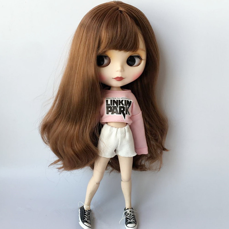 1/6 Fashion Blyth Doll Clothes Accessories Fashion Pink T-shirt + White Shorts For 30cm Blyth Clothing Pullip Doll Accessories